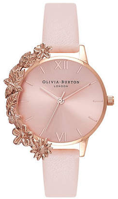 Olivia Burton Case Cuffs OB16CB11 Rose Goldtone Leather Watch