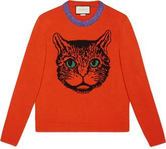 72e4db8b8 Gucci Mystic cat wool knit sweater