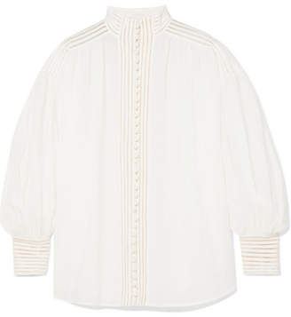 Zimmermann Corsage Crochet-trimmed Ramie Blouse - Ivory