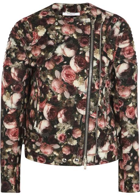Givenchy Roses print boiled wool-blend jacket