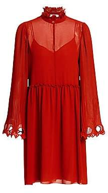 See by Chloe Women's Ruffled Collar Bell Sleeve Georgette Shirtdress