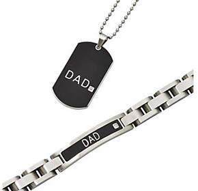 "Forza Stainless Steel Black ""DAD"" Bracelet & Ne"