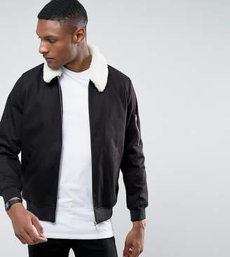 Asos DESIGN TALL Cotton Bomber Jacket With Fleece Collar In Black