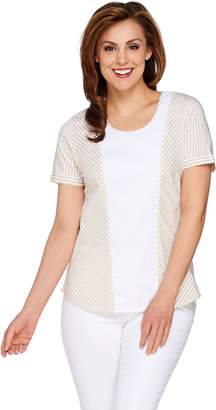 C. Wonder Short Sleeve Striped Top with Eyelet Detail