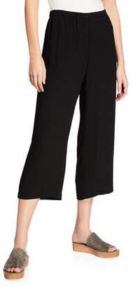 Eileen Fisher Cropped Silk Georgette Straight-Leg Pants