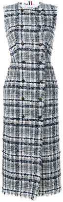Thom Browne Frayed Tartan Check Cardigan Dress In Reflective Yarn Tweed