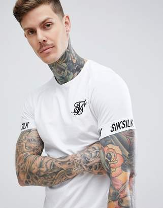 SikSilk t-shirt in white with tape sleeve