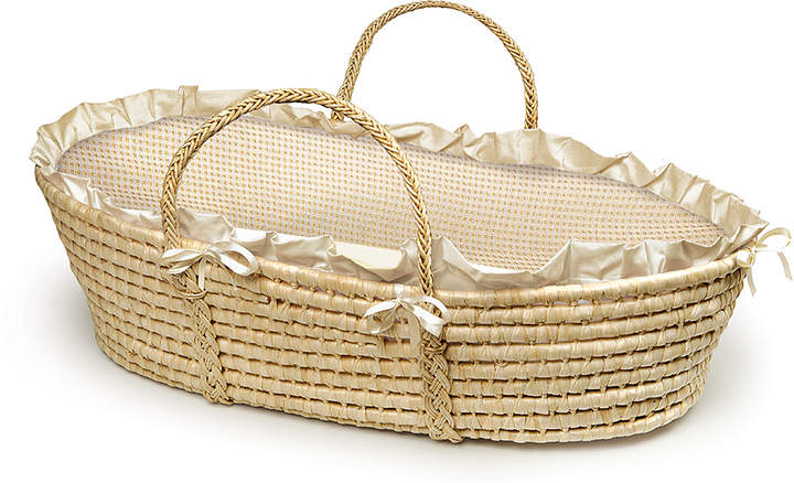 Natural & Ecru Gingham Woven Moses Basket
