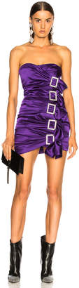 Alexandre Vauthier Stretch Satin Buckle Strapless Mini Dress