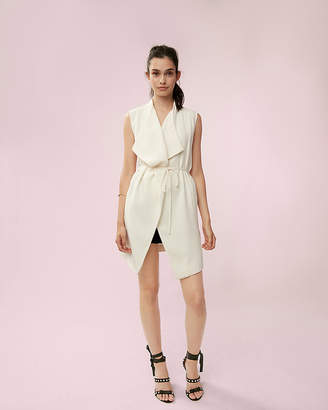 Express Sleeveless Drape Tie Jacket