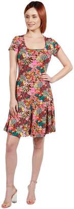 24/7 Comfort Apparel 24Seven Comfort Apparel Lani Red Short Sleeve Dress - Plus
