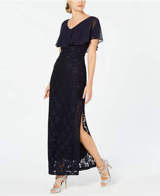 Connected Sequined Lace Overlay Gown