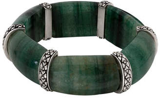 Stephen Dweck Green Aventurine Cushion Stretch Bracelet