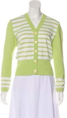 St. John Striped Knit Cardigan