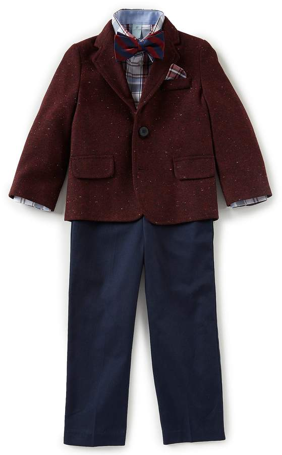 Class Club Little Boys 2T-7 Plaid Shirt & Tweed Blazer 4-Piece Suit Set