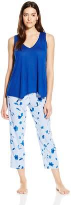 Oscar de la Renta Women's Watercolor Poppy Print Pajama Set