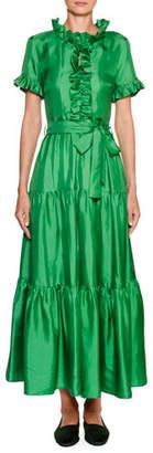 Double J Long And Sassy Tiered Satin Maxi Dress