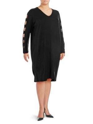 Plus Ladder-Sleeve Sweater Dress