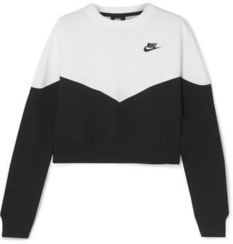 c99625f10 Nike Heritage Embroidered Cotton-blend Fleece Sweatshirt - Black