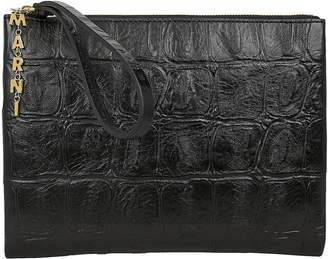 Marni Croc-Embossed Envelope Clutch