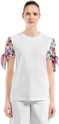 Salvatore Ferragamo Cotton Jersey & Silk Twill T-Shirt