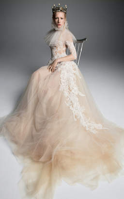 Vera Wang Olympe Sleeved Tulle Gown With Corset And French Lace