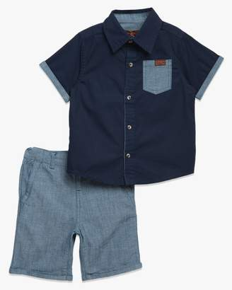 7 For All Mankind Boys 2T-4T Short Sleeve Button Up Shirt in Pea Coat with Chambray Short