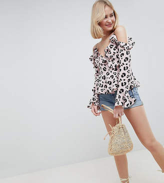Asos Tall DESIGN Tall Exclusive Ruffle Wrap Top With Cold Shoulder In Leopard animal print