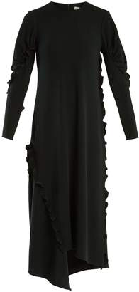 Tibi Asymmetric ruffle-trimmed stretch-crepe dress