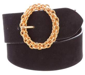 Paloma Picasso Gold-Tone Buckle Suede Belt