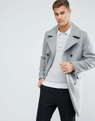 Stradivarius Double Breasted Wool Overcoat In Grey