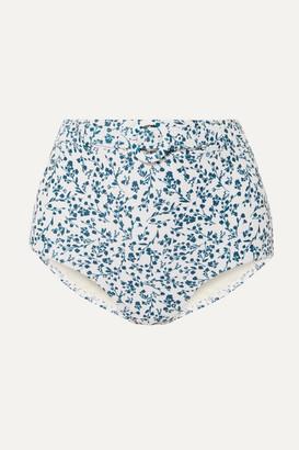 Peony + Net Sustain Floral-print Belted Bikini Briefs