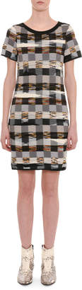 Missoni Crewneck Short-Sleeve Space-Dye Check Wool Short Dress