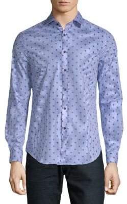 Striped Fleur de Lis Button-Down Shirt