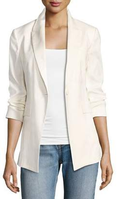 Theory Etiennette Elongated Stretch Linen Blazer, White $455 thestylecure.com