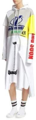 Vetements Cotton Jersey Logo Hoodie Dress