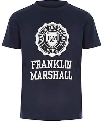 River Island Boys Franklin and Marshall navy logo T-shirt