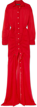 Y/Project Drawstring Georgette Shirt Dress - Red