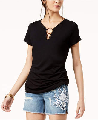 INC International Concepts I.N.C. Short-Sleeve O-Ring Top, Created for Macy's