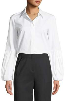 Michael Kors Puff-Sleeve Button-Down Stretch Cotton Poplin Shirt