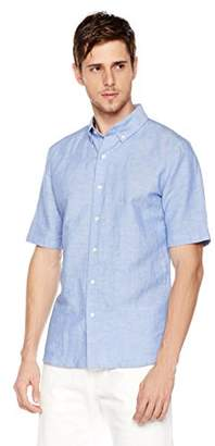 Isle Bay Linens Men's Slim Fit Short Sleeve Button-Down Collar Casual Woven Shirt