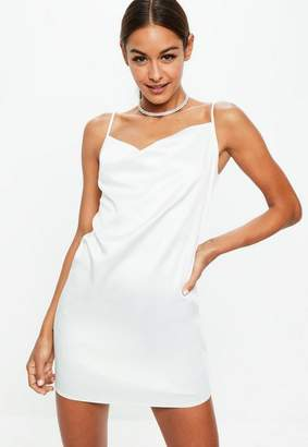 Missguided White Satin Crepe Back Strappy Cowl Shift Dress