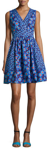 Kate Spade Kate Spade New York Sleeveless Tangier Floral Fit-And-Flare Dress, Blue