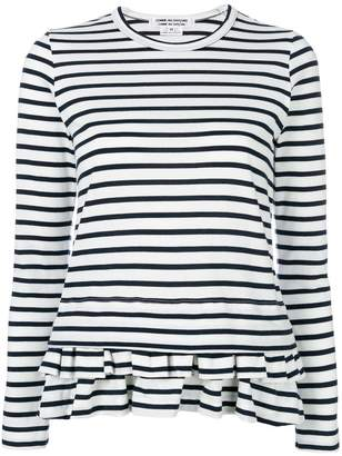 Comme des Garcons striped peplum hem long sleeve top