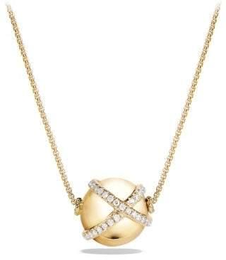 David Yurman Solari Pave Wrap Pendant Necklace With Diamonds In 18K