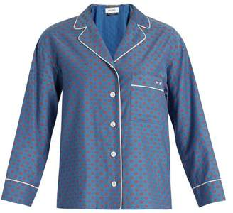 Muveil Lip Print Contrast Piping Shirt - Womens - Blue