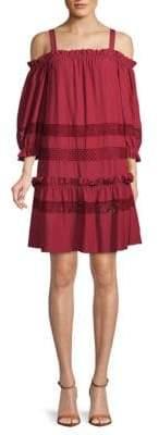 BCBGMAXAZRIA Cold-Shoulder Shift Dress