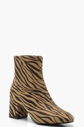 boohoo Zebra Low Block Heel Shoe Boots