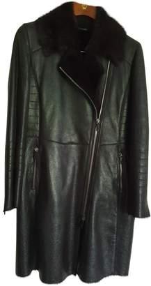 Ventcouvert Black Leather Coat for Women