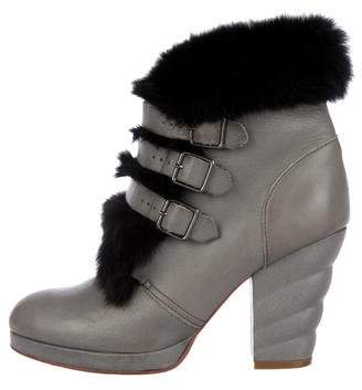 See by Chloe Fur-Trimmed Leather Ankle Boots